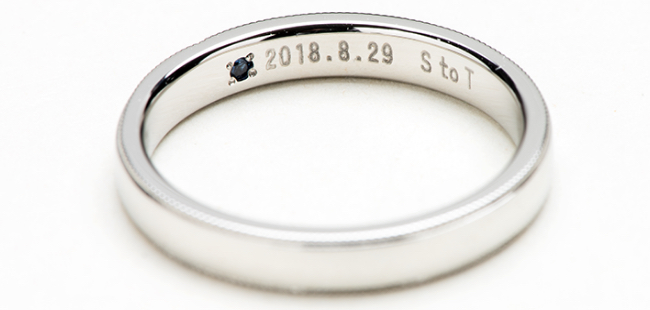 指輪 レーザー彫り