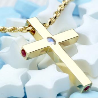 ゴールド十字架モチーフ×ルビー・オパール