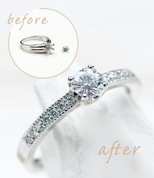 シンプルな婚約指輪 エレガントなデザインに