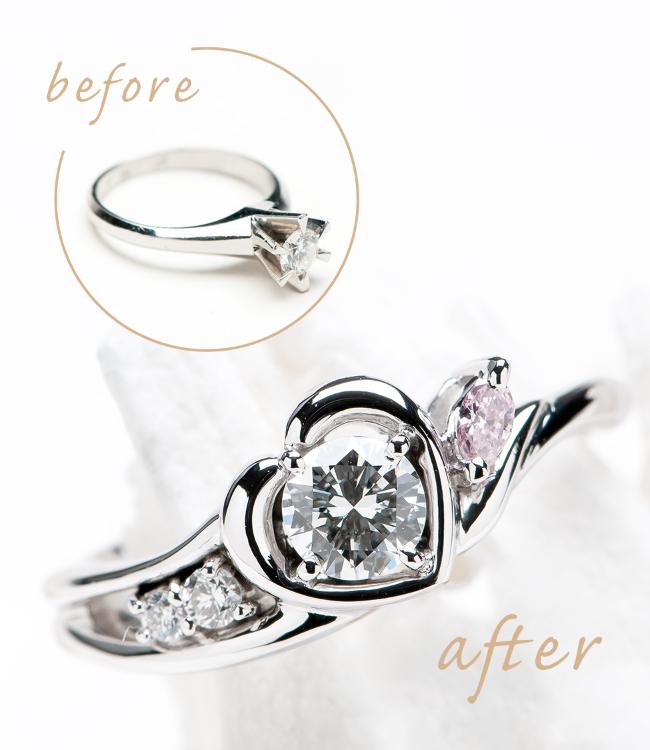 ハートモチーフにファンシーピンクダイヤモンドを入れたデザインにリメイク
