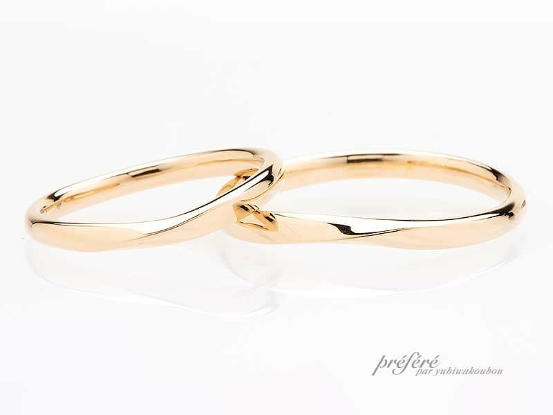 K18イエローゴールド素材のセミオーダー結婚指輪