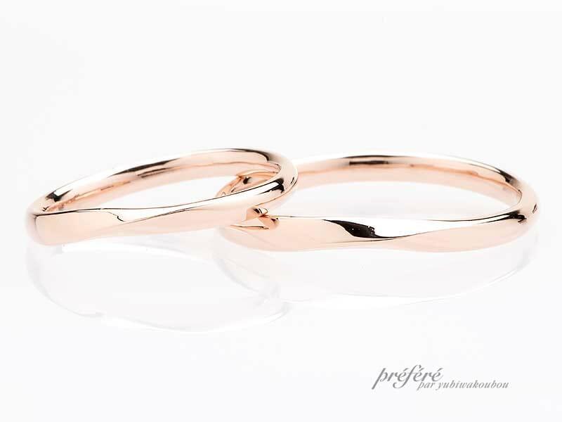 K18ピンクゴールド素材のセミオーダー結婚指輪