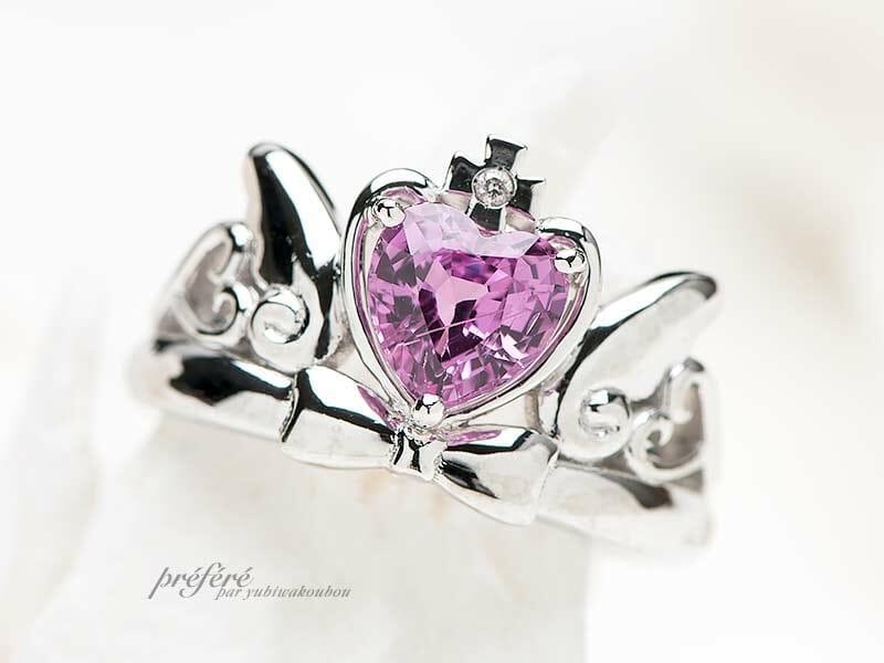 ピンクサファイアを使った婚約指輪