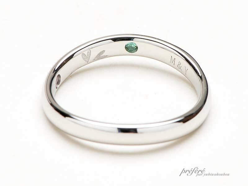 リング内側に誕生石やダイヤモンドを入れた手作り結婚指輪