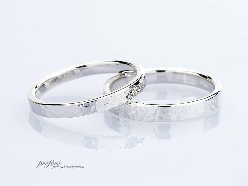 平打ちストレート形状の手作り結婚指輪