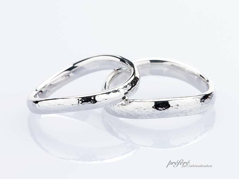 ウェーブ形状の手作り結婚指輪