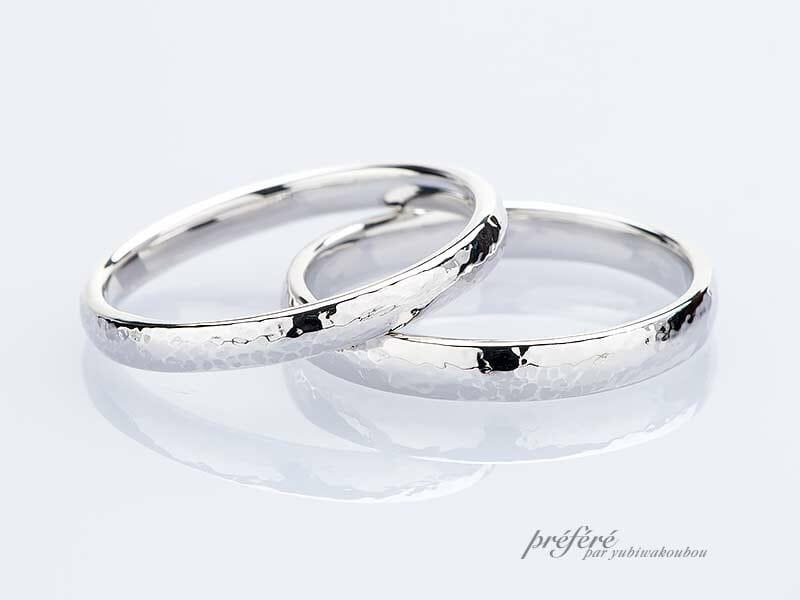 甲丸ストレート形状の手作り結婚指輪