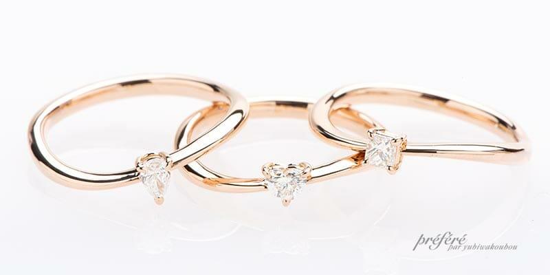 ピンクゴールド素材のお得な婚約指輪